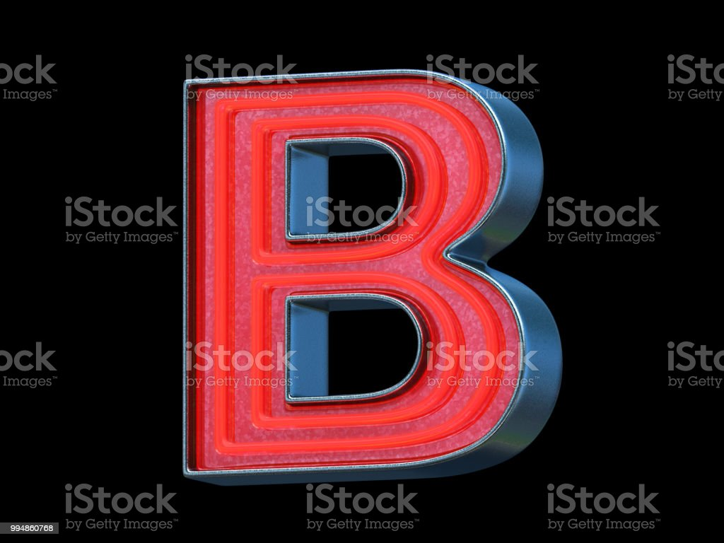 Red neon font - Letter B stock photo