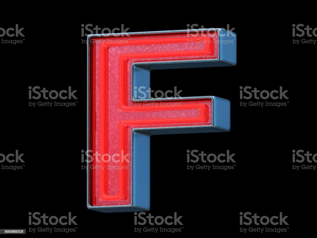 Red neon font - Letter F stock photo