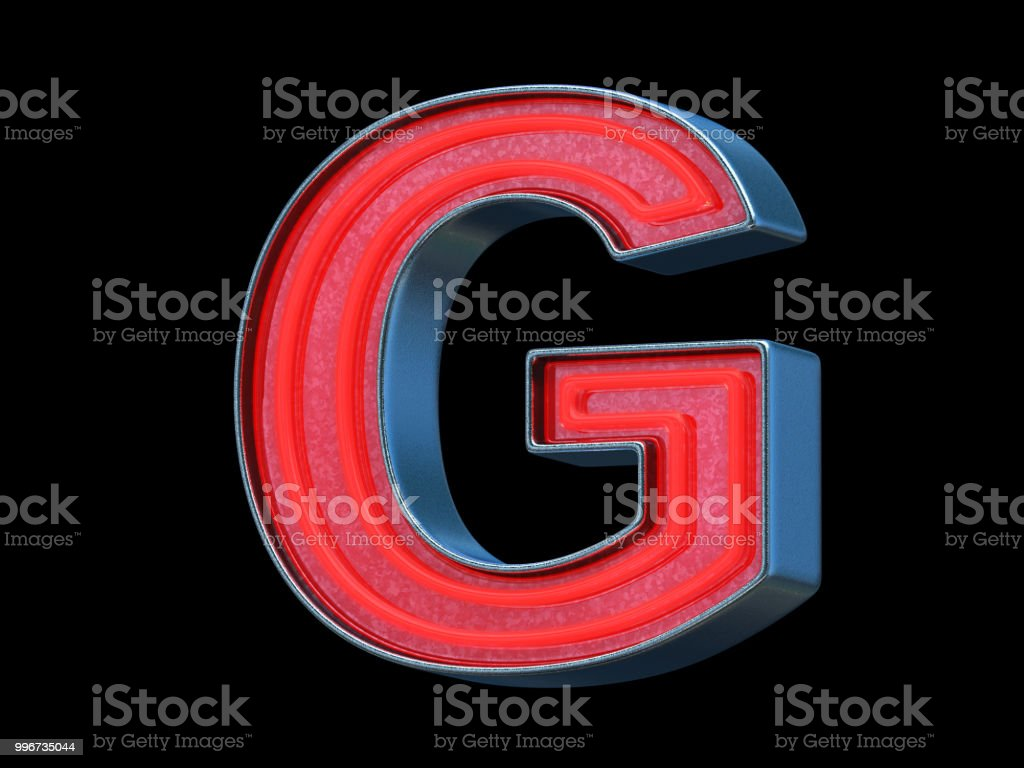 Red neon font - Letter G stock photo