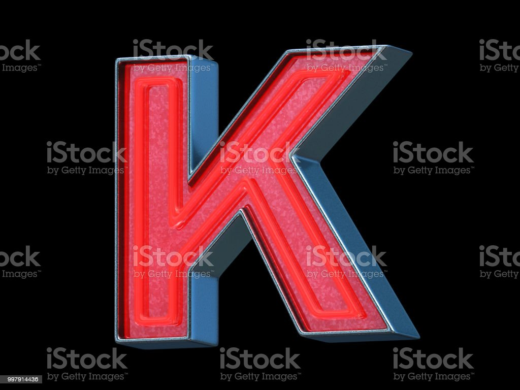 Red neon font - Letter K stock photo