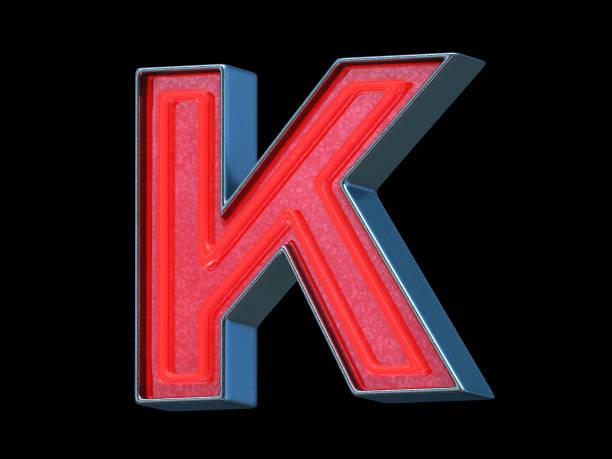 red neon font - letter k - буква k стоковые фото и изображения