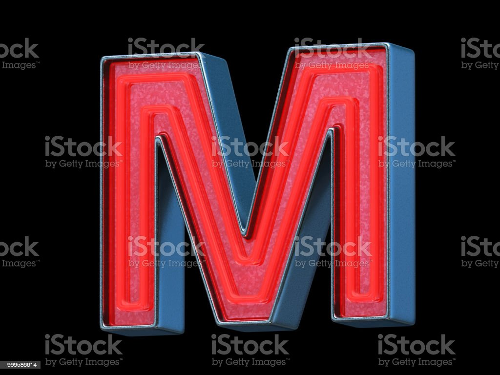 Red neon font - Letter M stock photo