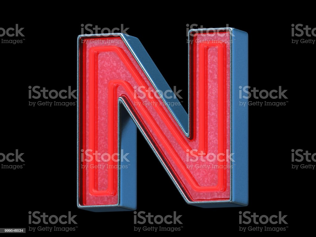 Red neon font - Letter N stock photo