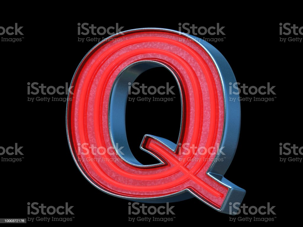 Red neon font - Letter Q stock photo