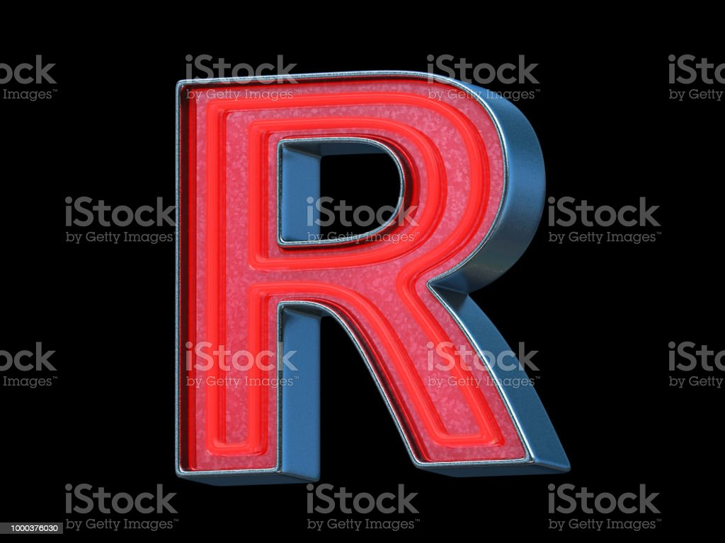 Red neon font - Letter R stock photo