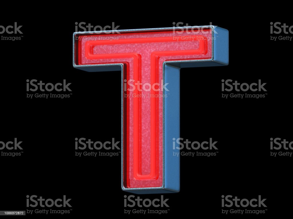 Red neon font - Letter T stock photo