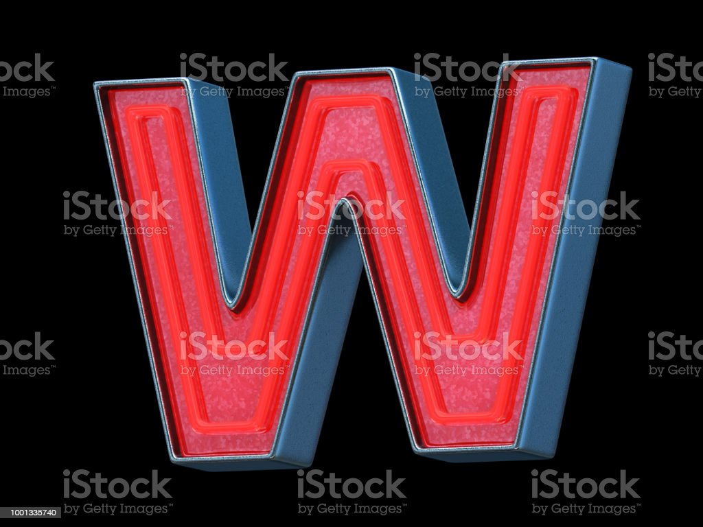 Red neon font - Letter W stock photo