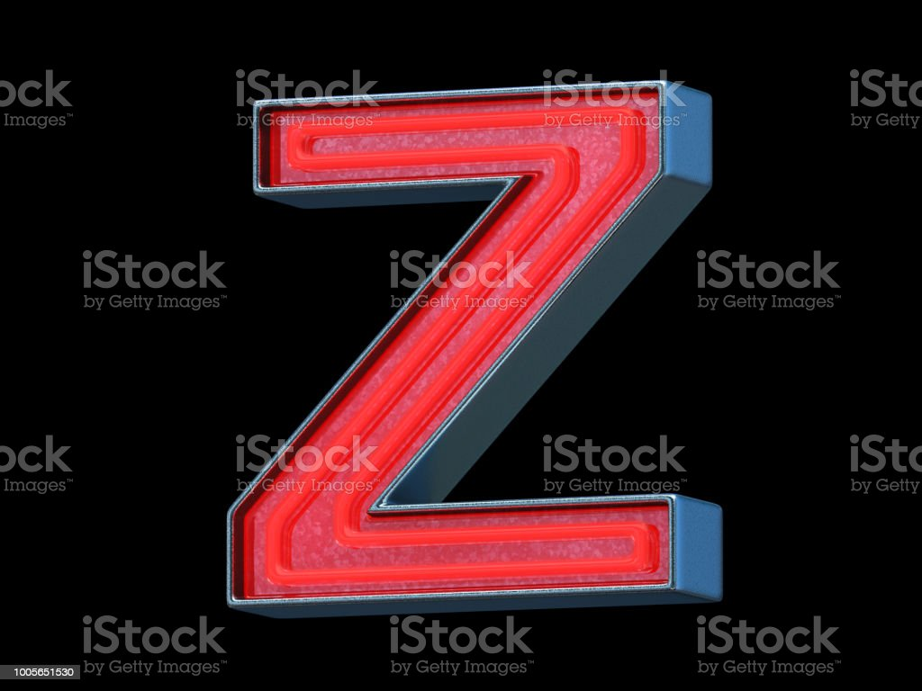 Red neon font - Letter Z stock photo