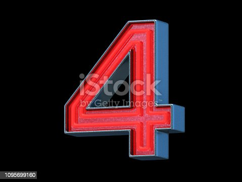 Red neon font with metallic body - Number 4, black background, 3d render