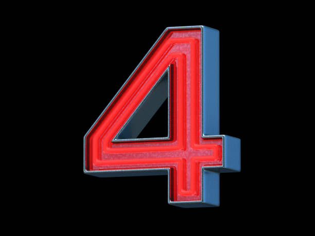 Red neon font - Number 4 Red neon font with metallic body - Number 4, black background, 3d render number 4 stock pictures, royalty-free photos & images