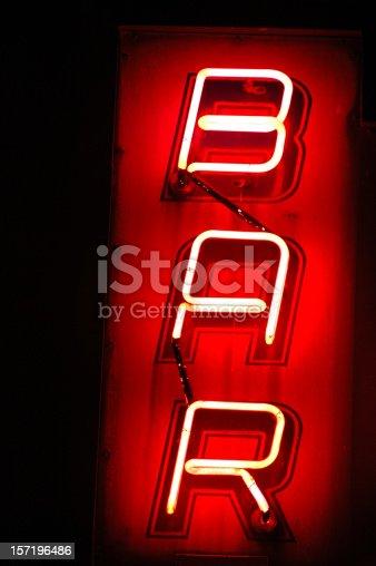 istock Red neon light vertical BAR sign 157196486