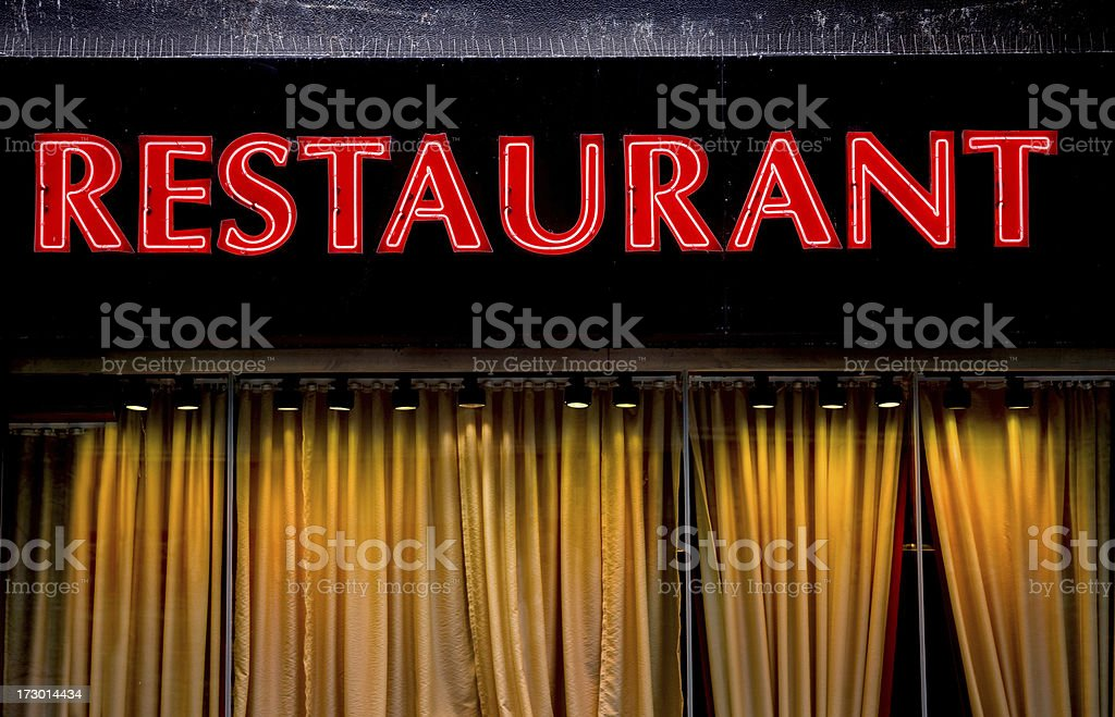 Red neon Restaurant sign royalty-free stock photo