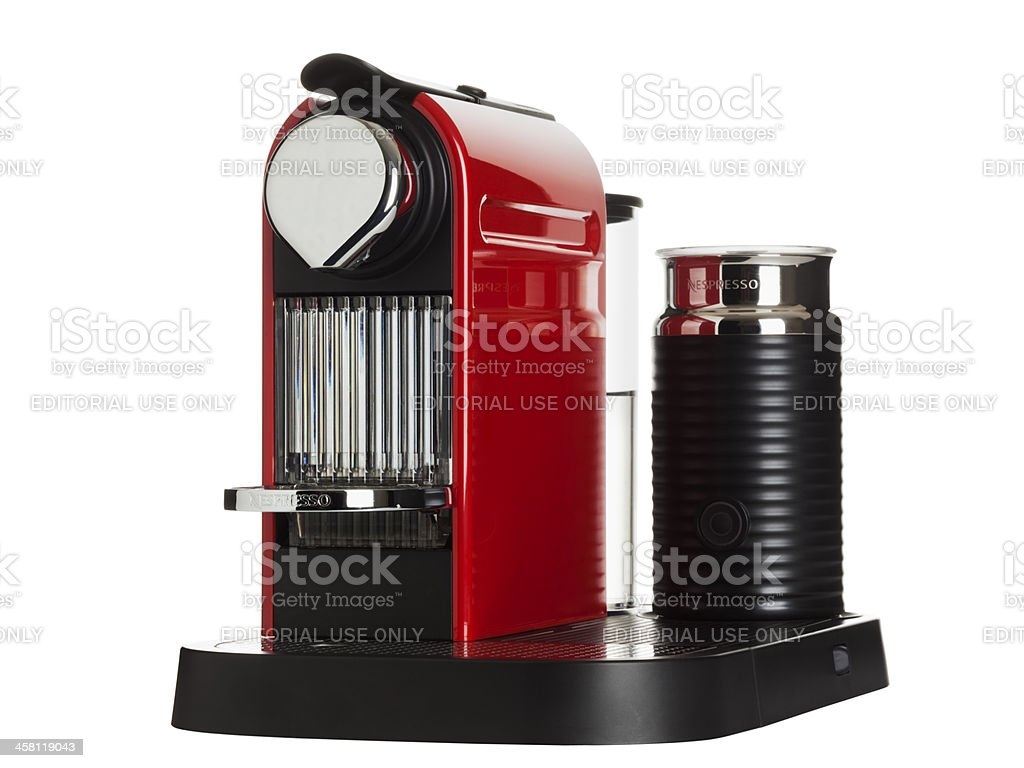 red Nespresso machine isolated stock photo