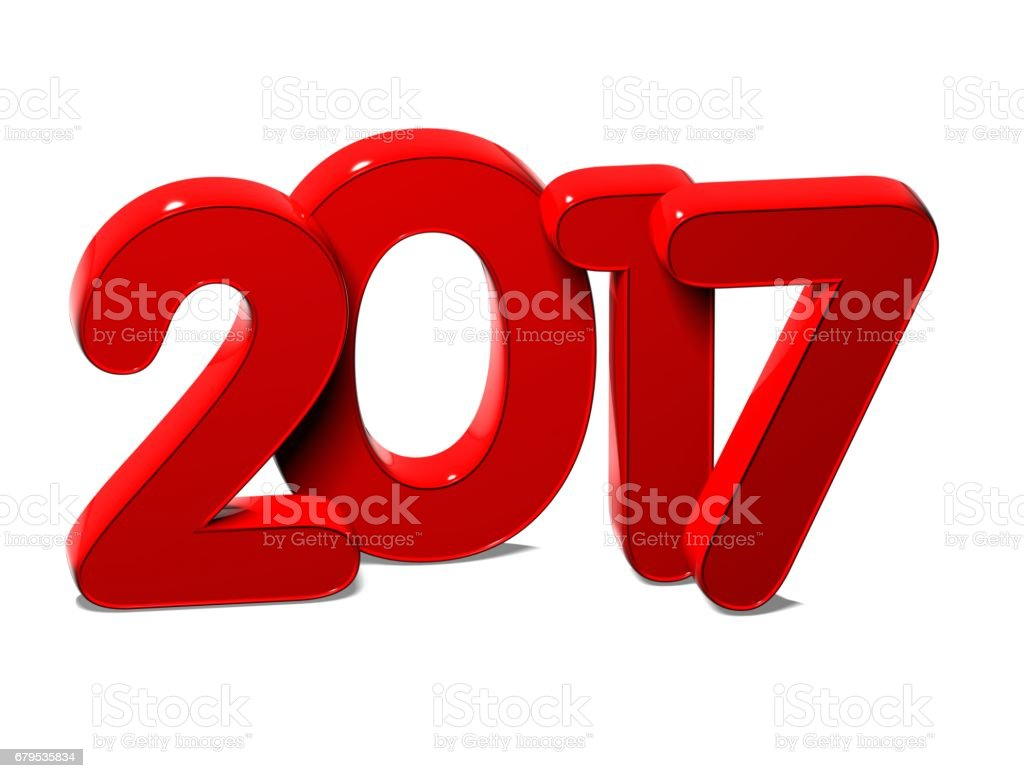 3D Red New Year 2017 on white background royalty-free stock photo