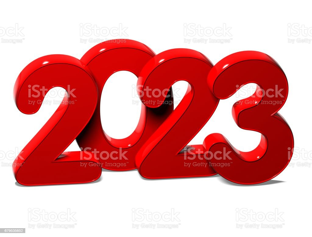 3D Red New Year 2023 on white background royalty-free stock photo