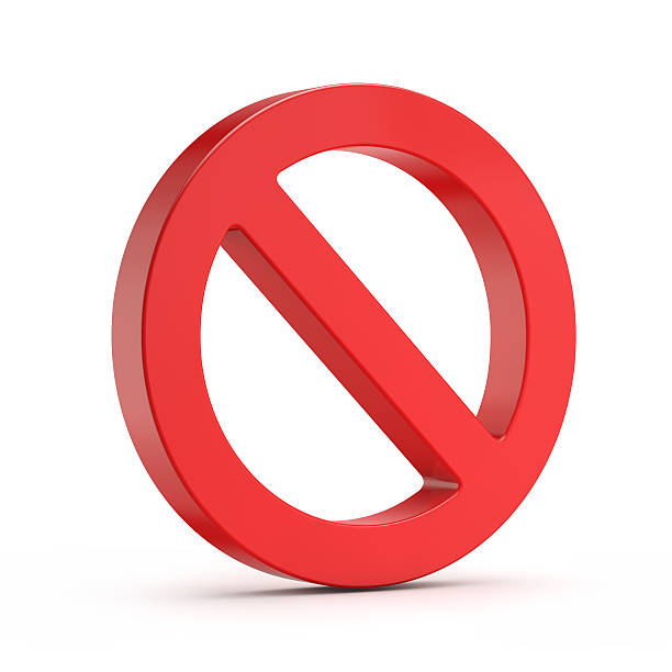 red no sign (forbidden) red no sign (forbidden) isolated white background with clipping path single word no stock pictures, royalty-free photos & images