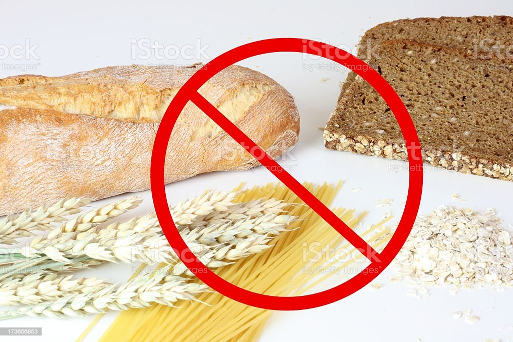 Red no wheat or flour warning sign stock photo