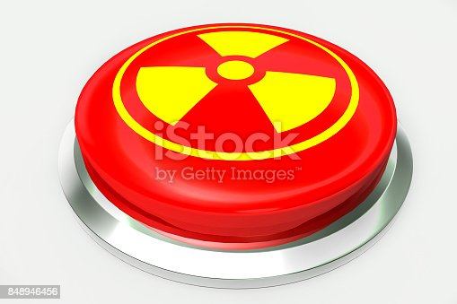 istock Red nuclear alert button and sign for danger isolated on white background. 3D illustration 848946456