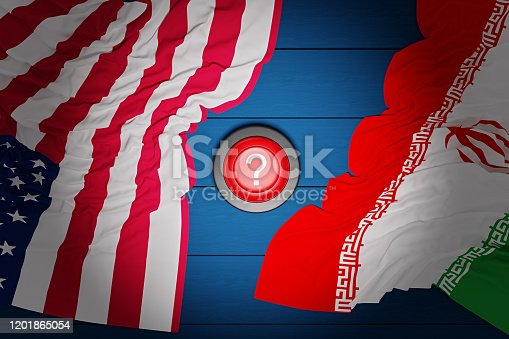 istock A red nuclear button with a Question mark and the flags of the United States and Iran lie on a blue wooden table.Concept of conflict between two countries. 1201865054