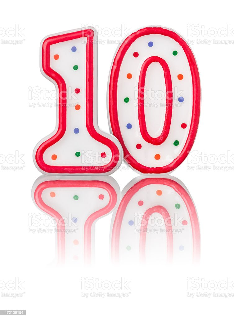 Red number 10 with reflection stock photo