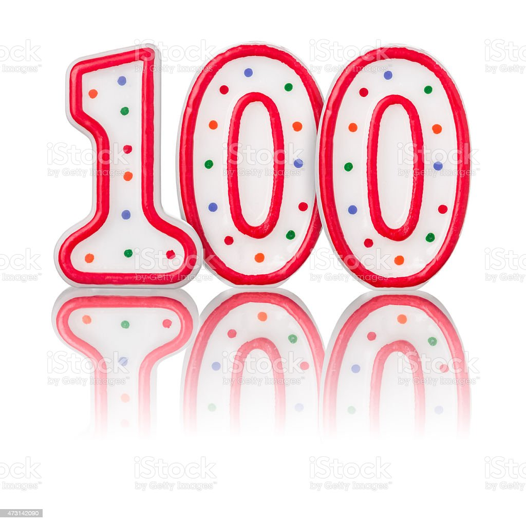 Red number 100 with reflection stock photo