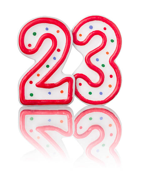 red number 23 with reflection on a white background - number 23 stock photos and pictures