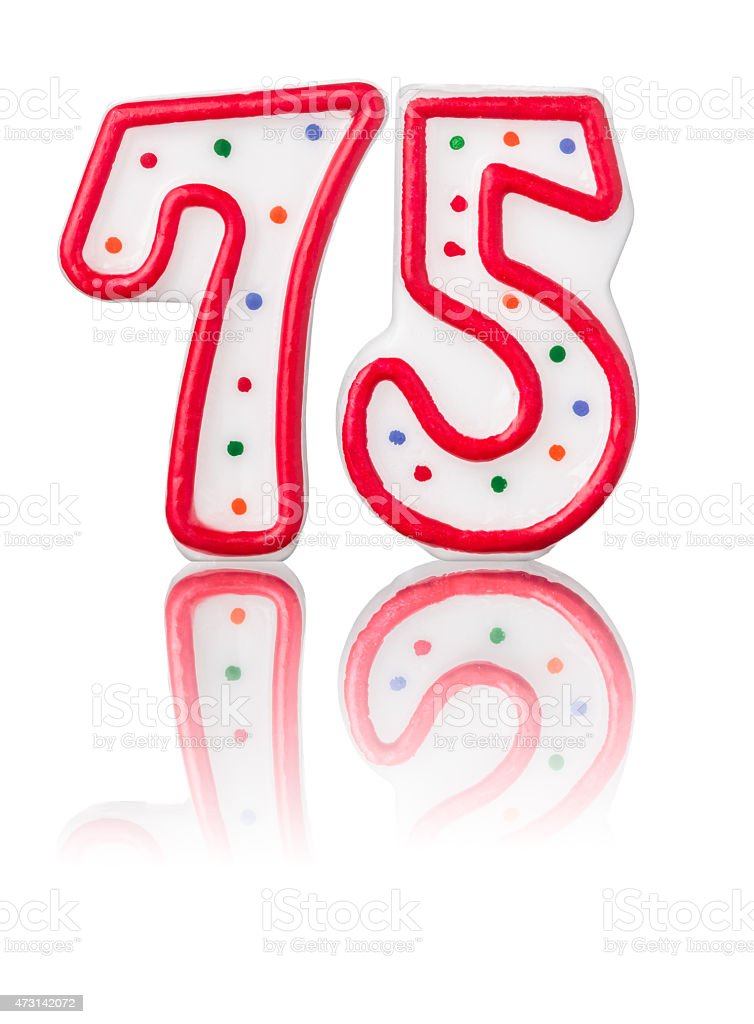 Red number 75 with reflection stock photo