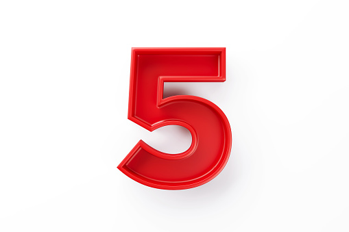 Red number five sitting on white background. Horizontal composition with clipping path and copy space.