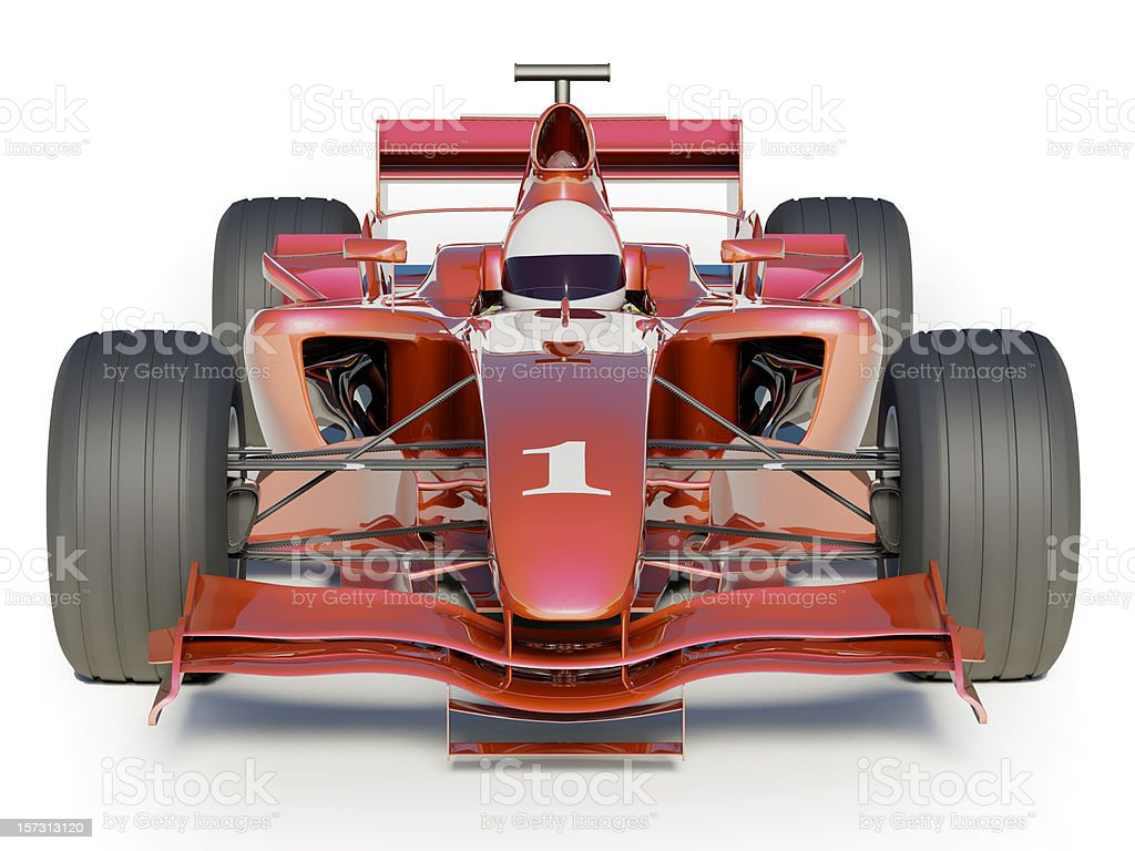Red number one racing car with white background royalty-free stock photo