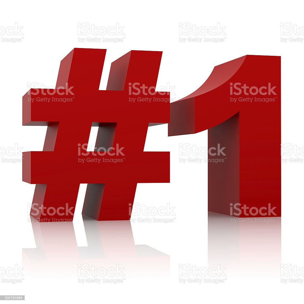 red number one sign isolated on white background stock photo