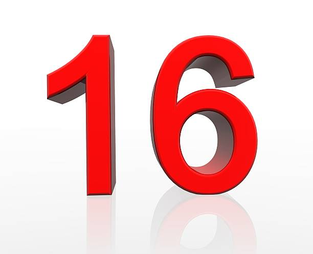 red number sixteen - number 16 stock photos and pictures