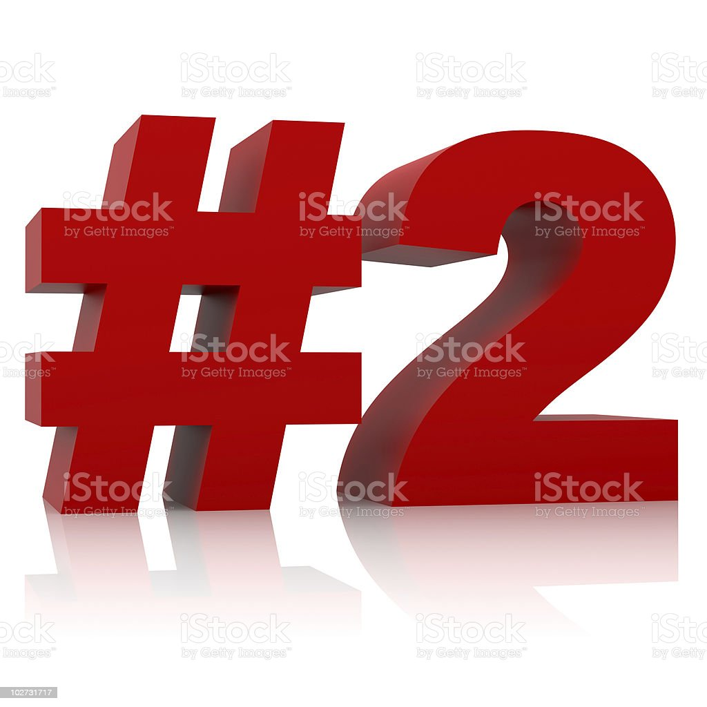 red number two sign isolated on white background royalty-free stock photo