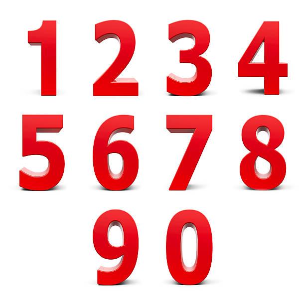 赤色番号セット ストックフォト