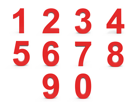 istock Red Numbers Set 610137116