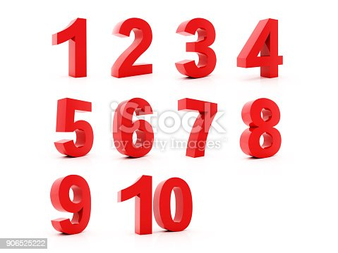 istock Red numbers set 906525222