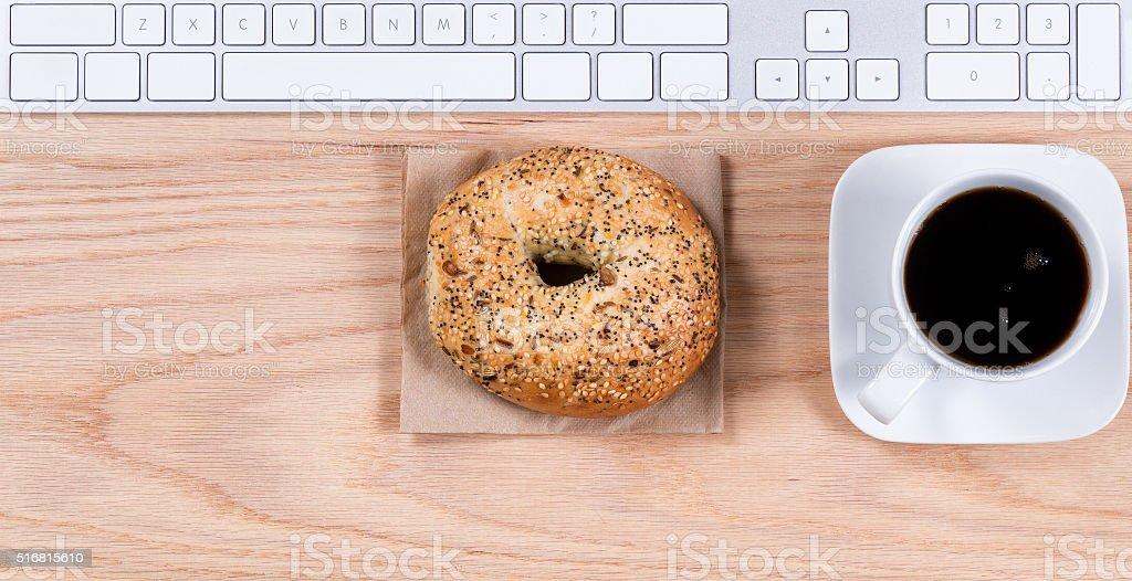 Red oak desktop with morning meal stock photo