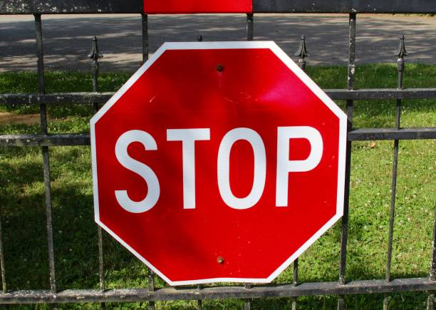 Red Octagon Stop Sign stock photo