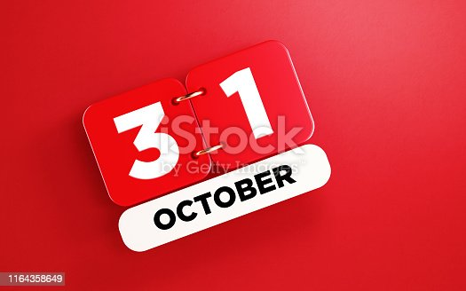 istock Red October 31 Calendar on Red Background 1164358649