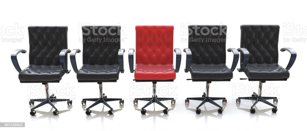 red office chair among black chairs isolated on white background in the design of information relating to the business and meeting. 3d illustration stock photo