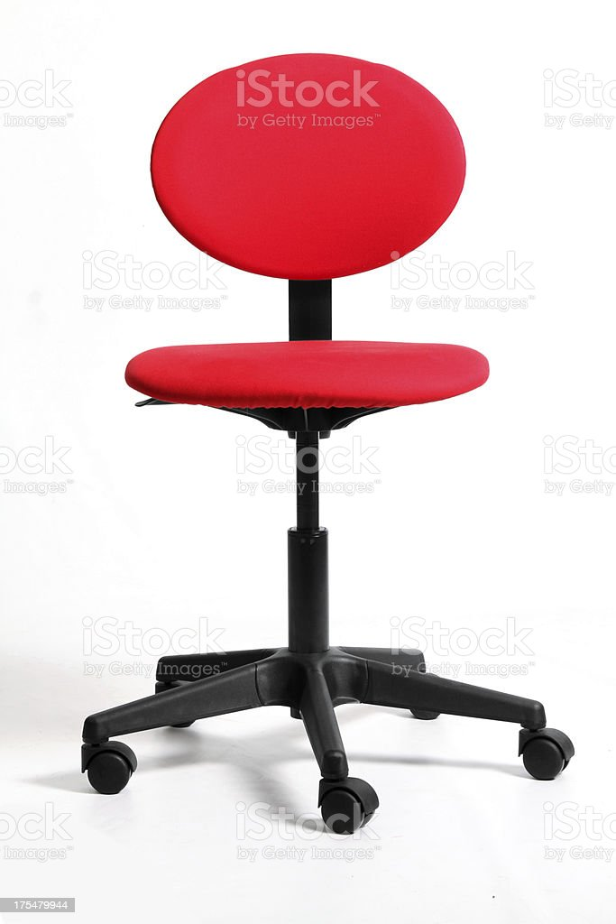 Red office chair on white with shadow royalty-free stock photo