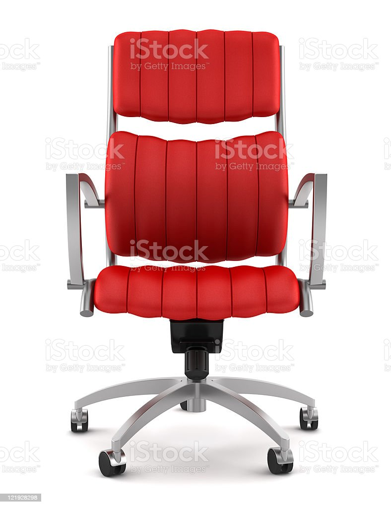 Red office chair with modern design on white backdrop stock photo