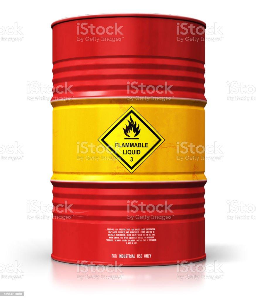 Red oil drum isolated on white background zbiór zdjęć royalty-free