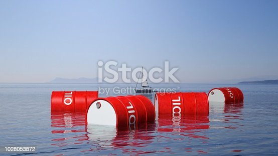 istock 3D red oil drums floating on sea surface, with blue sky and sailing boat in background 1028053872