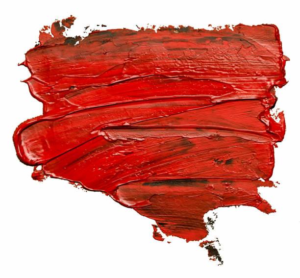Roter Öl-Lackfleck isoliert auf weißem Hintergrund – Foto