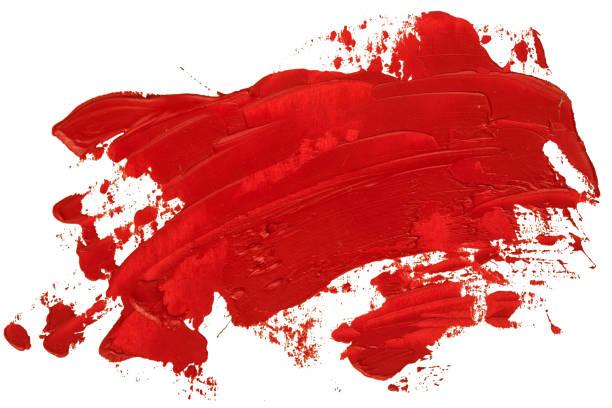 Rotes Öl Textur Pinsel Pinselstrich streicheln, handbemalt, isoliert auf weißem Hintergrund. – Foto