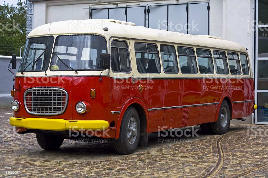 Red old bus from 1960s, Poland royalty-free stock photo