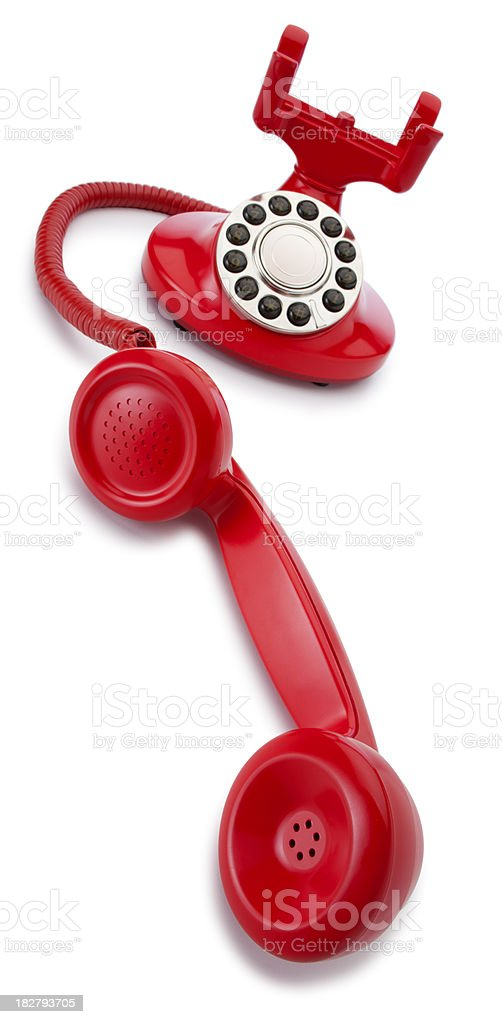 Red Old Fashioned Telephone on a White Background royalty-free stock photo