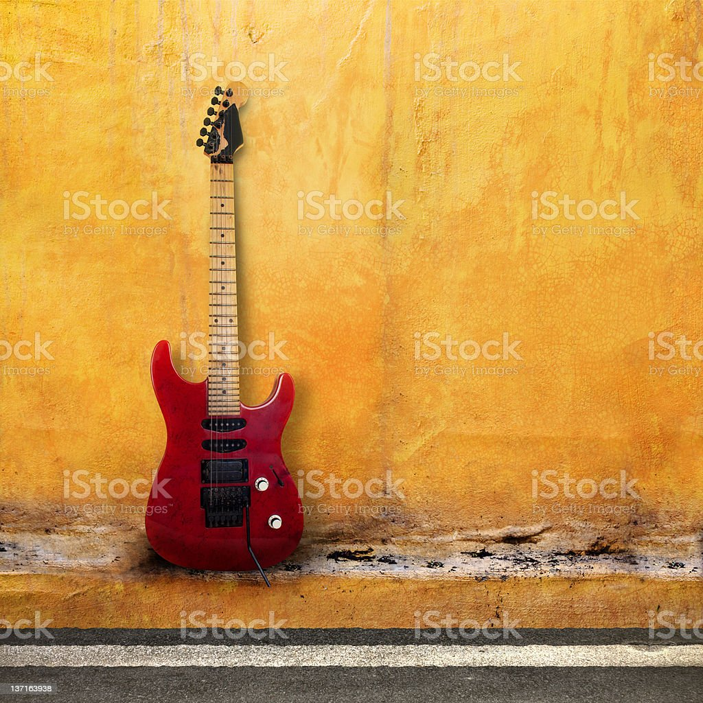 Red Old Guitar stock photo