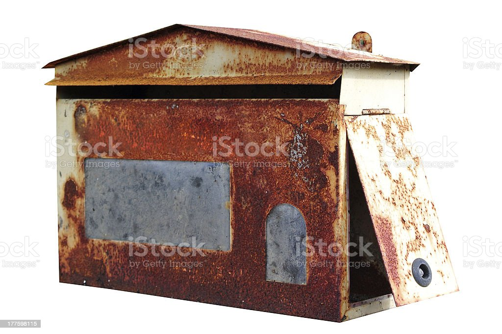 Red old mailbox isolated on white background royalty-free stock photo