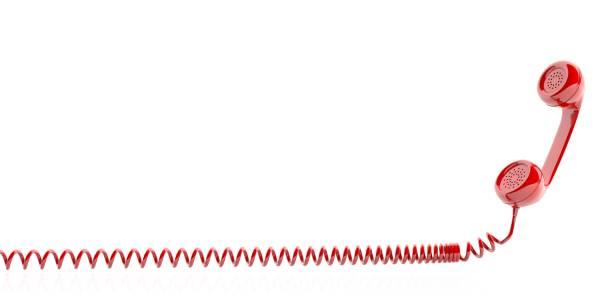 red old phone receiver on white background. 3d illustration - cornetta telefono foto e immagini stock